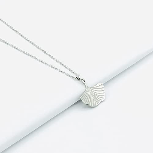 Halskette Damen Kette Blatt Lucil Ginkgo Farbe silber