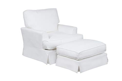 Sunset Trading Ariana Chair and Ottoman, White