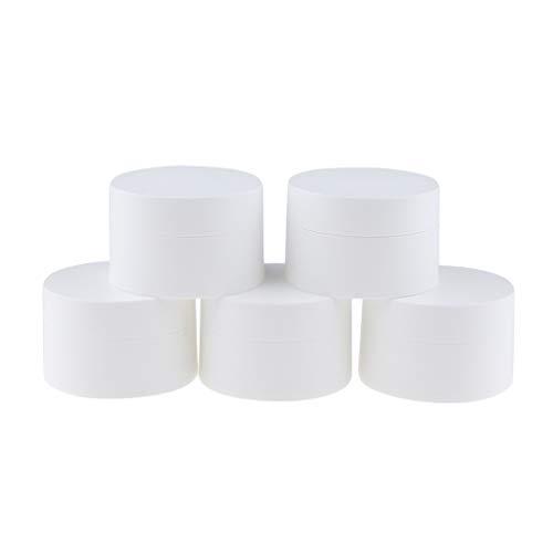 Fenteer 5pcs Pots Vide de Maquillage en Plastique Récipient de Crème de Cosmétiques Stockage Produits de Beauté pour Voyage Blanc - 50g