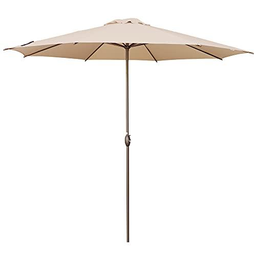 Abba Patio 11ft Patio Umbrella Outdoor Umbrella Patio Market Table Umbrella with Push Button Tilt and Crank for Garden, Lawn, Deck, Backyard & Pool, Beige