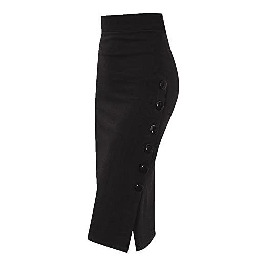 N\P Falda lápiz para mujer, color negro, rojo, falda de botón de algodón dividida para oficina