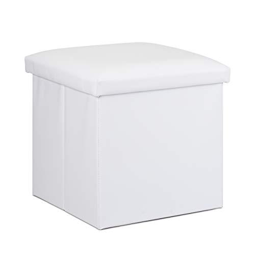 Relaxdays Hocker mit Stauraum, Kunstleder, Schaumstoff Polster, Deckel, faltbar, Sitzwürfel HBT 38 x 38 x 38 cm, weiß, 1 Stück