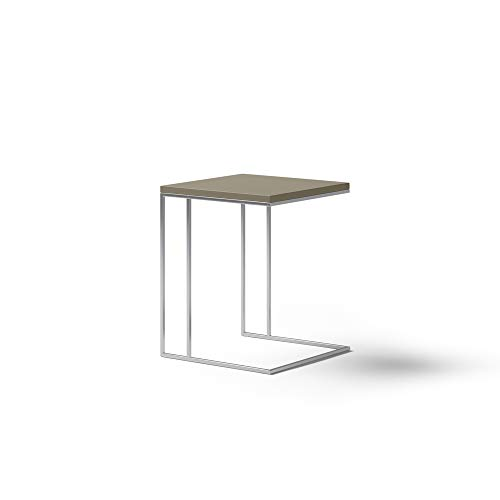 KND Design Mesa auxiliar Moderna, Acabado en Visón y Metal Cromado, Mesita de Salón con Medidas: 45 cm (Largo) x 45 cm (Ancho) x 57 cm (Alto).