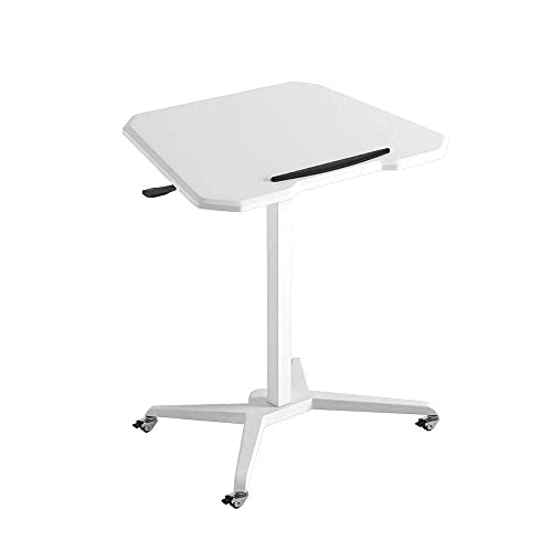 N\C Table Folding Laptop Table, Standing Workbench, Move The Sofa Side Table with Pulley, Lifting Desk, White for Living Room Bedroom (Color : White, Size : 27.55 17.71 42.51in)