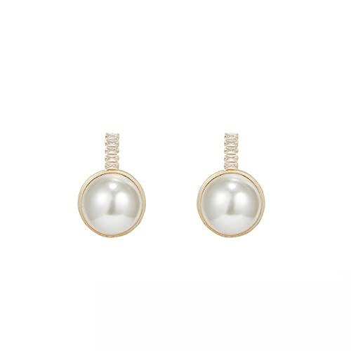 S925 aguja de plata perla simple super flash zircon pendientes de personalidad salvaje pendientes de moda cara grande era delgada