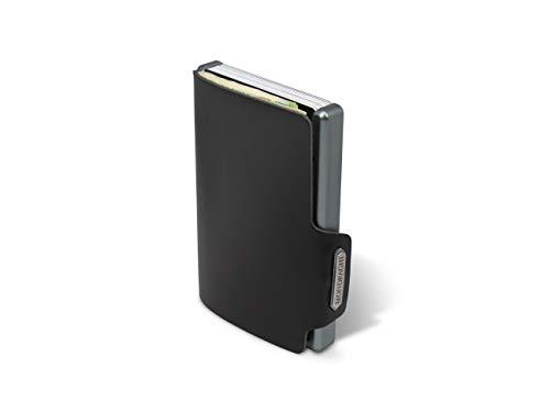 Mondraghi® Portafoglio THE ORIGINAL black | Protezione RFID integrata nella clip portabanconote'Stop and Go' | Scocca in alluminio | Miniwallet in pelle