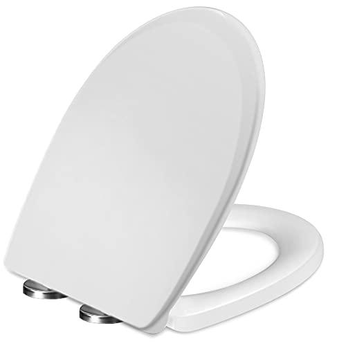 KASTEWILL WC Sitz, O-förmiger rutschfester Toilettensitz, weißer Toilettendeckel mit sanfter Absenkfunktion, Toilettenabdeckung mit einfacher Montage und Demontage
