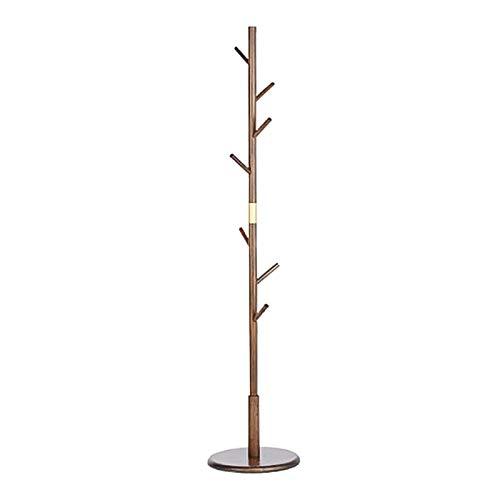 Bambú Perchero De Pie con Chasis Redondo Fácil Montaje Perchero para Abrigos Altura De 175cm para Dormitorio Silla Oficina Pasillo Entrada Perchero para Colgar Ropa Hogar-Marrón. 38x38x175cm
