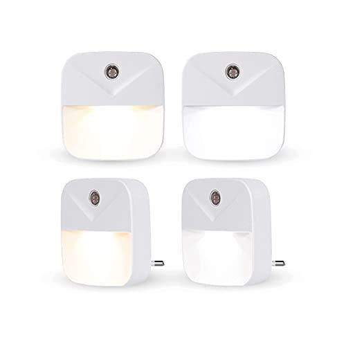 Luz nocturna LED cable eléctrico CM2【Juego de 4 lámparas nocturnas】2 colores blanco frío, 2 blanco cálido, sensor de luz automático, iluminación de habitación de bebé, cocina, salón, etc.