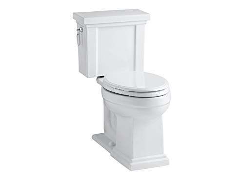 KOHLER K-3950-0 Tresham Comfort Height Two-Piece Elongated 1.28 GPF Toilet with AquaPiston Flush Technology and Left-Hand Trip Lever, White