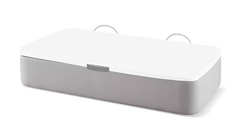 Naturconfort Canapé Abatible Tapizado Apertura Lateral Tapa 3D Blanca Low Cost Plata 80x180cm Envio y Montaje Gratis