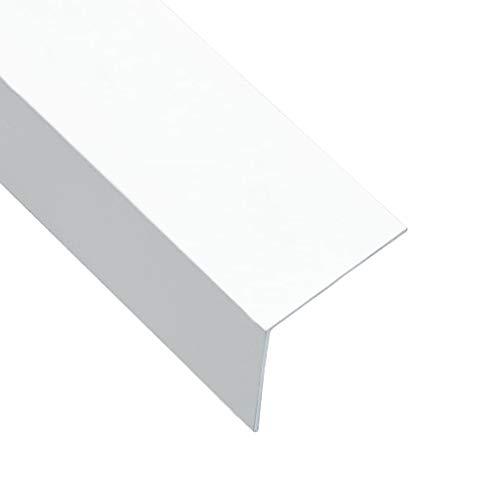 vidaXL 5x Perfiles en Forma de L 90° Cantoneras de Escalera Bordes Laminados Peldaños de Seguridad Protectores de Hogar Aluminio Blanco