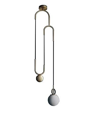 Moderne créative Lampe suspension boule courbe design laiton Luminaire suspendu avec abat-jour en verre blanc lait minimaliste industriell