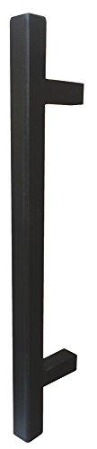 Stoßgriff eckig Türbeschlag Antik schwarz Schmiedeeisen - Modell 1882 | Gesamtlänge 1000 mm | Stangengriff im Landhaus-Stil | Gusseisen massiv | 1 Stück - Haustür-Griff inkl. Befestigungsmaterial