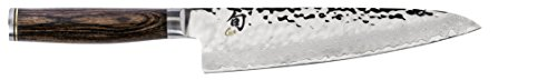 Shun Premier 7-inch Asian Cook's Knife; High-Performance Japanese Knife; Lighter, Nimbler, Multi-Purpose Kitchen Knife; Handcrafted, Damascus Cladding, Hammered Tsuchime Finish, PakkaWood Handle