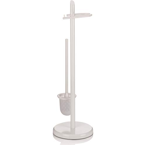 Kela 20540 Set WC Support Papier Toilette + Brosse, Métal Blanc, Hauteur 73 cm, 'Ken'