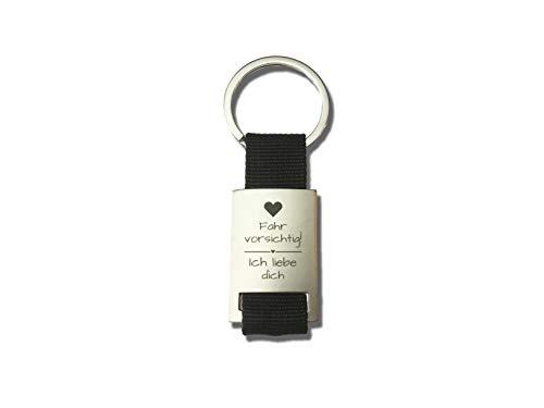 Geschenkeritter – Schlüsselanhänger Partner – Fahr vorsichtig! Ich Liebe Dich – Schlüsselanhänger Auto – Geschenk für Lieblingsmenschen Schwarz