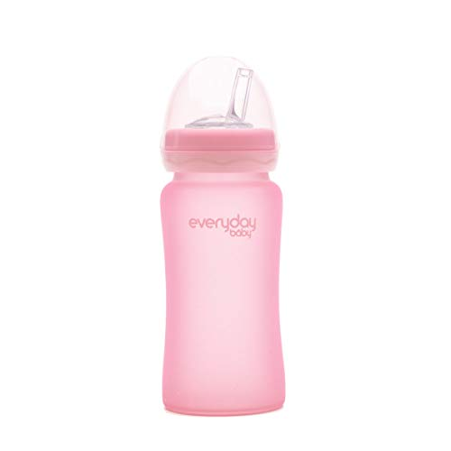 Everyday Baby-Biberon de Cristal Tetina Caña- 240ml (Rosa)