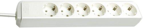 Brennenstuhl Eco-Line, Steckdosenleiste 6-fach (Steckerleiste mit erhöhtem Berührungsschutz und 1,5m Kabel) weiß