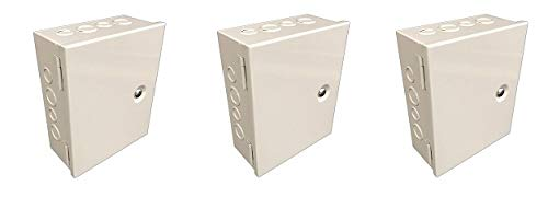 """BUD Industries JBH-4958-KO Steel NEMA 1 Sheet Metal Box with Knockout and Hinged Cover, 8"""" Width x 10"""" Height x 4"""" Depth, Gray Finish (3-(Pack))"""