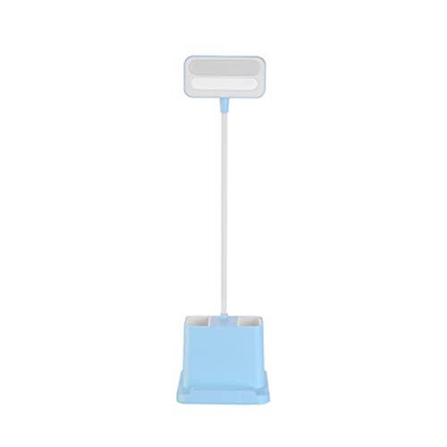 Multifunctionele tafellamp ooglamp student leesboek verlichting USB mobiele telefoon opladen, flexibele zwanenhals, aanraakbediening,Blue