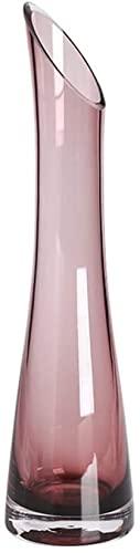 XIAOZHEN Jarrón Hermosas artesanías Vidrio Jarrón Salón Salón Comedor Jarrón Obliculio Botella Cuello Fino Cintura Jarrón Crystal Clear Jarrón (Color : Purple)