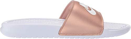 Nike Damen WMNS Benassi JDI Dusch- & Badeschuhe, Mehrfarbig (White/White/MTLC Red Bronze 000), 38 EU