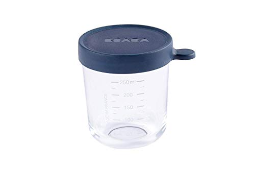 Béaba Tarros de Conservación para Bebé Tupper en Cristal Resistente al calor Recipientes para guardar la comida de Bebé Con indicador de cantidad 1x 250ml Azul Oscoro