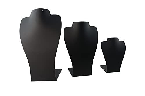 Acrílico 3 Parte 2 Muesca Collar Pendiente Exhibición Busto Stand Contador Presentación (negro)