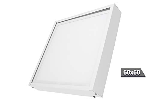 FactorLED Kit de Superficie de Panel 60x60 con Marco blanco, Fabricado en Aluminio, Kit...