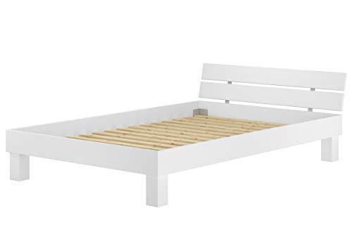 Erst-Holz® Doppelbett Überlänge 140x220 Massivholzbett Buche weiß Futonbett mit Rollrost 60.86-14-220 W