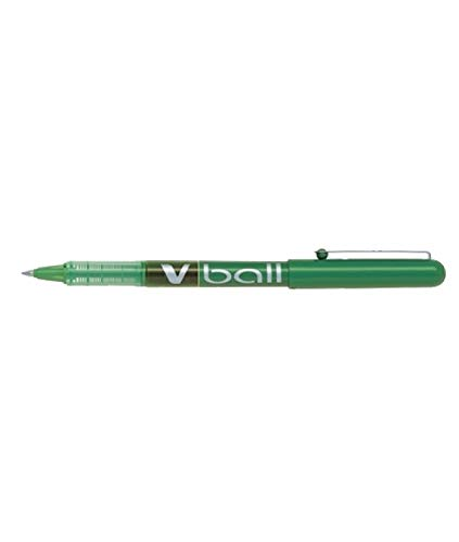 Bolígrafo Pilot V-BALL de punta redonda 0.7mm, 12 unidades, Color verde