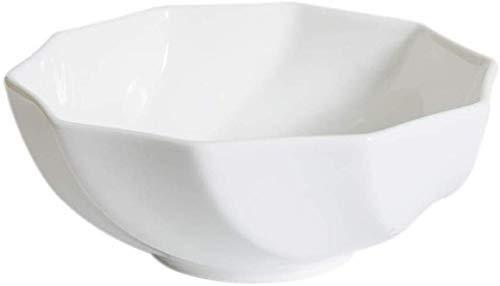 DJY-JY Cuencos de cerámica de estilo japonés, de 22,86 cm, color blanco, antideslizante, grande, para ensalada, sala, fruta, gran tazón de plato frío, para cocina