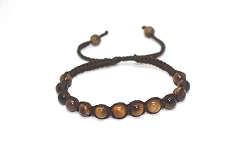 RikaJasmine Tiger Eye GemStone Bracelet 6 mm for Women Men Unisex (TigerShamballa) I Tiger Eye Shamballa Style Bracelet