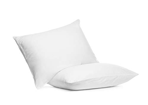 Digital Decor Set of Two 100% Cotton Hotel Down-Alternative Made in USA Pillows - Three Comfort Levels! (Silver, Standard)