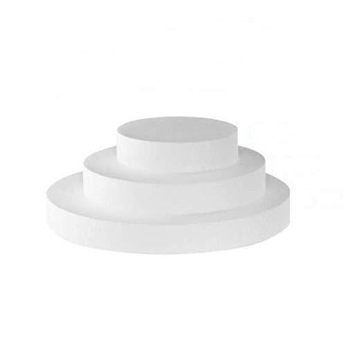 Kit basi Torta 3 Forme circolari in polistirolo per Cake Design, Altezza 10cm basi 15cm, 25cm e 35cm