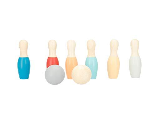 Bieco Mini Kegelspiel für Kinder aus Holz | ca. 10 cm | 8-TLG. Bowling Set Kinder | Outdoor Spielzeug | Kinder Spiele für Draußen Kinder | Kegel Outdoor Spiele Erwachsene | Set Spiel | Garten Spiel