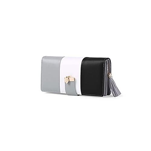 FEINENGSHUAInsqb Bolso Monedero, Cartera de Damas, con antimagnetización, Hecha de Material de Cuero PU, con diseño de Color contrastante. (Color : Gray)