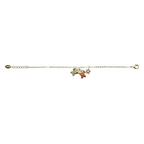 THUN - Bracciale da Donna con Segno Zodiacale Pesci - Oroscopo - Gioielli Donna - Ottone Placcato Oro e Ceramica