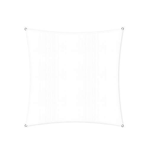 Lumaland Sonnensegel inkl. Befestigungsseile Wetterbeständig, 100% HDPE mit Stabilisator für UV Schutz, Quadrat 3 x 3 Meter weiß