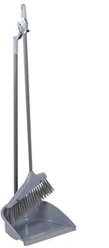 Vani Kehrgarnitur mit langem Stiel, Besen und Kehrschaufel Set, Kehrset mit Gummilippe + gratis 1 Mikrofasertuch (Grau)