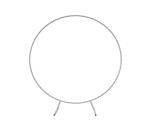 7FT Round White Metal Circle Backdrop Arch Stand for Party Background Decoration