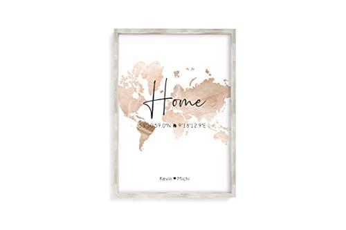 Home Koordinaten Kunstdruck A4 oder A3 ungerahmt als Einweihungsgeschenk oder Geschenk-Idee zum Einzug Einweihung Richtfest Umzug Wand-Bild Wand-Deko (Bronze)