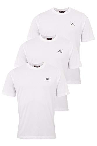 Kappa Herren T-Shirt VOLLAR im 3er Pack | Sport-Shirt mit Rundhalsausschnitt | Basic Tshirt-Set für Männer | Rundhals Oberteil für Sport und Freizeit | Regular Fit | XXL, Weiß