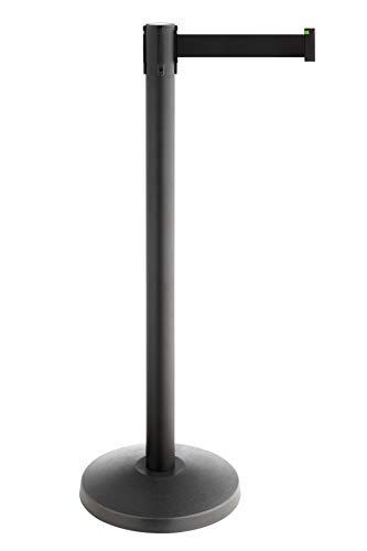 Betriebsausstattung24® Gurtpfosten | Absperrständer | Personenleitsysteme Sicherheit & Ordnung | Ausziehbar bis 3,0 Meter | Stahl | (Pfostenfarbe: schwarz | Gurtbandfarbe: rot)