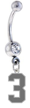 Number 3 Silver Plated Charm on Silver Belly Navel Ring