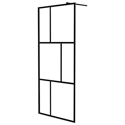 vidaXL Mampara de Ducha Accesible Cabina Cuarto de Baño Aseo Cerramiento Partición Cubículo Apertura Central con Vidrio Templado Negro 90x195 cm