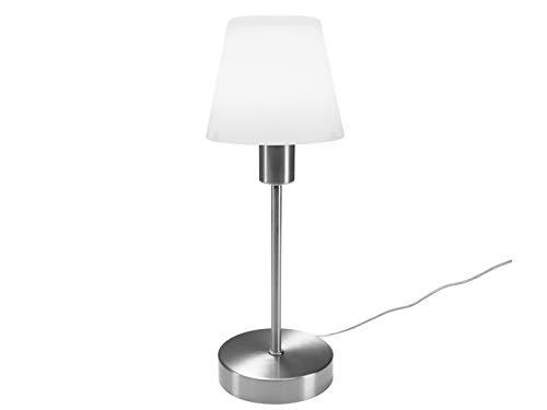 Tischleuchte mit TOUCH Dimmer in klassischem DESIGN - Glas Lampenschirm Opal weiß & Fuß Nickel matt - Neue TOUCH Generation geeignet für LED