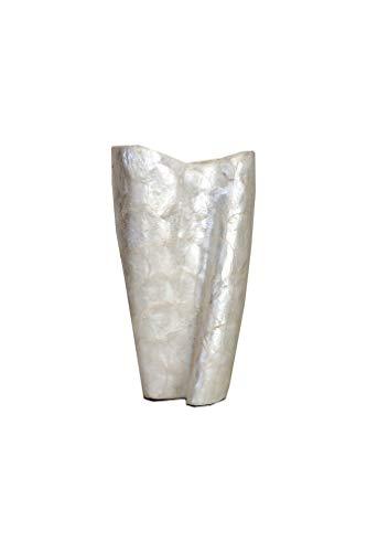 Cvc srl Vase mit Torsa-Oberfläche, Keramik, Perlmutt weiß, glänzend 27,5 x 13 x 44,5 cm - Gastgeschenk für Cerimonie, Hochzeit, Konfirmation, Kommunion