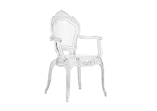 Sedia in plexiglass per cucina, sala da pranzo, soggiorno moderna stile regale 58x61x108 cm (Trasparente)